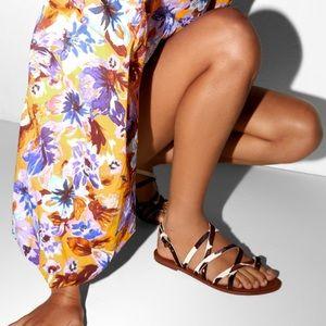 Zara Zebra Leather sandals Flats 8 89/mq